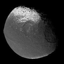 Mosaic of Iapetus images taken by the Cassini spacecraft, Dec. 31, 2004. Photomosaic assembled by Matt McIrvin.