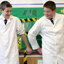 Jamie Edwards (left) and George Barker (right) at Penwortham Priory Academy, Preston, after Jamie became the youngest person yet to achieve nuclear fusion.
