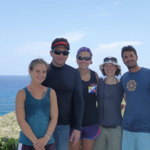 John Bruno with his research team, and Helen Scales, in Abaco, Bahamas.