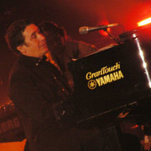 Jools Holland at the Tsunami Relief concert in the Millennium Stadium, Cardiff.