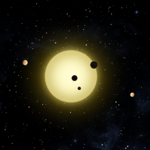 Kepler-11 is a sun-like star around which six planets orbit. At times, two or more planets pass in front of the star at once, as shown in this artist's conception of a simultaneous transit of three planets observed by NASA's Kepler spacecraft on Aug. 26