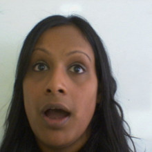 Meera looking surprised