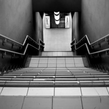 A straight flight of stairs, at Porta Garibaldi sotterranea station, Milan.