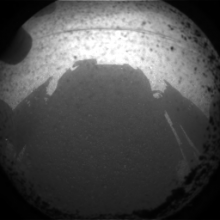 One of the first camera shots of the Mars Science Laboratory (Curiosity) after successfully landing on Mars , August 5, 2012