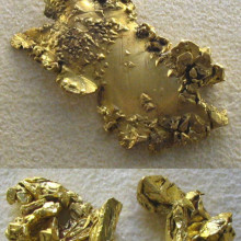 A collage of 2 photos, showing 3 pieces of native gold. The top piece is from the Washington mining district, California, and the bottom two are from Victoria, Australia. The bottom 2 pieces illustrate octahedral formations. The photos were taken at...