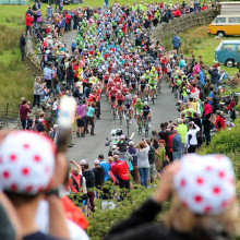 The Peloton on the 'Cote de Buttertubs' in Yorkshire