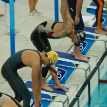 Michael Phelps starting the 4x100m relay at the Beijing olympic games, august 11th 2008 at the Watercube