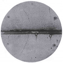 Cloud chamber photograph of the first positron ever observed.