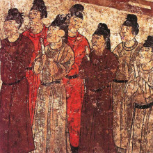 A group of eunuchs. Mural from the tomb of the prince Zhanghuai, 706 AD