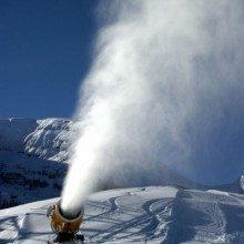 Snow cannon in Wildhaus in Switzerland.