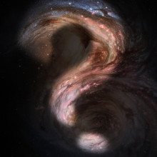 "Original - This artist's impression of the distant galaxy SMM J2135-0102 shows large bright clouds a few hundred light-years in size, which are regions of active star formation. These ""star factories"" are similar in size to those in the Milky Way,..."