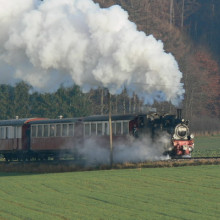 Steam train on the Albbähnle branch line
