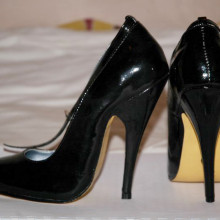 A pair of high heeled shoe with 12cm stiletto heels.