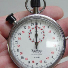 A typical mechanical analog stopwatch.