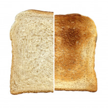 The same slice of bread, pre-toasting, and post-toasting.