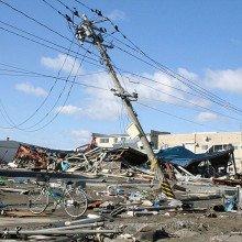 Fallen power lines in Ishinomaki, Japan.