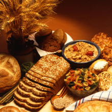 A variety of foods made from wheat, which contains gluten. It is hard to avoid eating gluten-containing foods, so people with Celiac disease must watch their diet very carefully.
