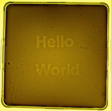 A light programmable biofilm made by the UT Austin / UCSF team during the 2004 Synthetic Biology competition, displaying \Hello World\