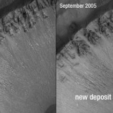Martian Landslide - first considered to be evidence of liquid water flowing on the surface
