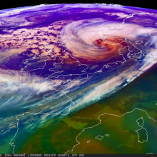 A case of extremely Rapid Cyclogenesis in the North Atlantic.