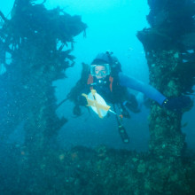 A driver exploring an underwater wreck