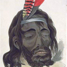 This image is a hand-coloured aquatint portrait of Yagan by George Cruikshank.