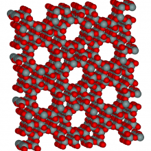 The microporous molecular structure of a zeolite, ZSM-5