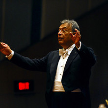 Zubin Mehta conducting the Israeli Philharmonic Orchestra at the Jamshed Bhabha Theatre(NCPA) in Mumbai. A series of concerts were held to mark the centenary of Mehli Mehta, Zubin's father.