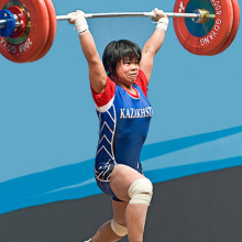 Zulfiya Chinshanlo World Champion 2009 53kg class Kazakhstan photo taken at Goyang City site of 2009 world championships in Olympic Weightlifting