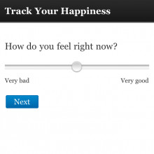 A screenshot from www.trackyourhappiness.org.