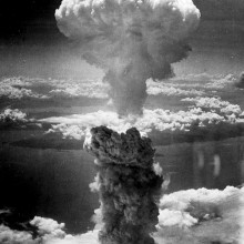 The mushroom cloud over Nagasaki in World War 2.