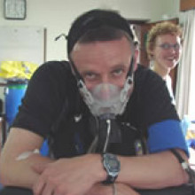 Richard Turner participating in \x-treme Everest\, an initiative to understand how the body tolerates low oxygen conditions.