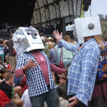 Paul herrington and Mark Hunt being robotheads at Latitude Festival.